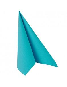 Servilletas papel aspecto tela Royal Collection color azul turquesa 40 x 40 cm