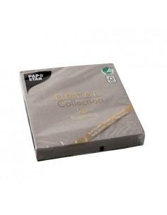 Servilletas papel aspecto tela gris Royal Collection 33 x 33 cm