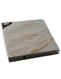 Servilletas papel aspecto tela Royal Collection color gris 40 x 40 cm