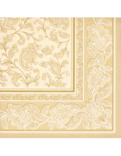 Servilletas papel decoradas Royal Collection color champan 40 x 40 cm Ornaments