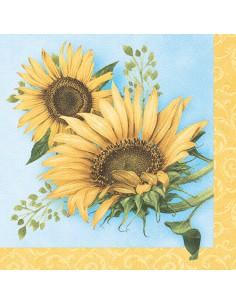 Servilletas papel decoradas girasoles 40 x 40 cm Royal Collection