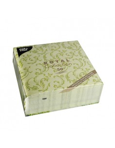 Servilletas de papel decoradas Royal Colection verde oliva 40 x 40 cm Damascato