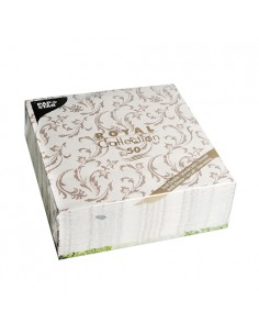 Servilletas de papel decoradas Royal Colection marrón 40 x 40 cm Damascato