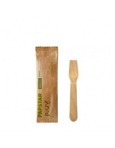 Cucharillas helado madera envueltas individualmente 9,4 cm Pure