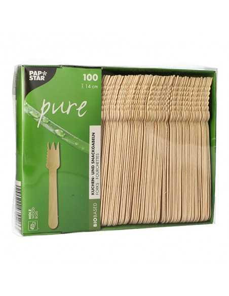 Tenedores de madera para postre borde dentado 14 cm Pure