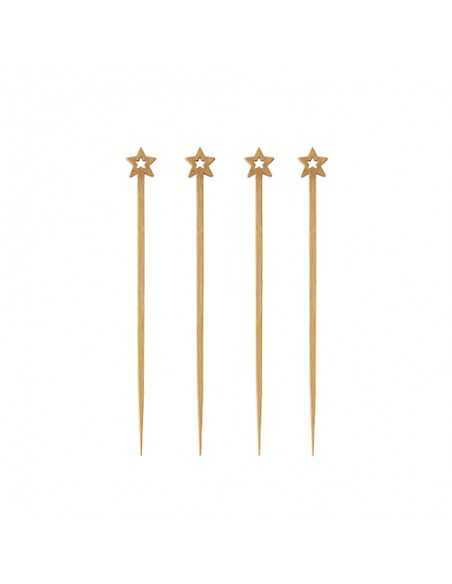 Pinchos madera bambú decorados estrella 12 cm Pure