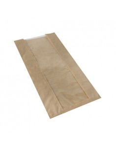 Bolsas panadería papel marrón ventana PLA compostables Pure
