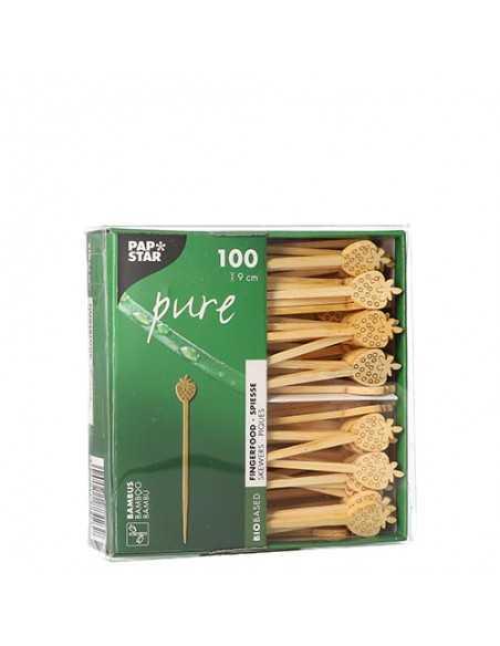 100 Pinchos de Bambú de 9 cm Pure Fresa