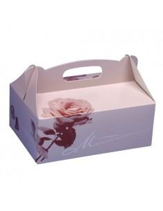Cajas repostería cartón decorado con asa 23 x 16 x 9 cm