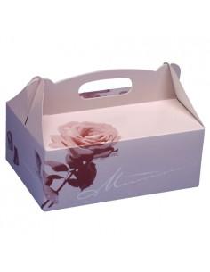 15 Cajas Repostería Con Asa 26 x 22 x 9 cm Color Rosado