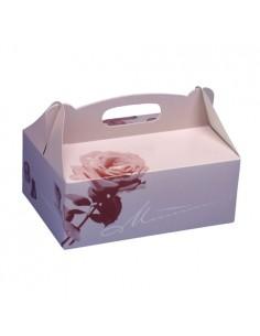 Cajas repostería cartón decorado con asa 20 x 13 x 9 cm
