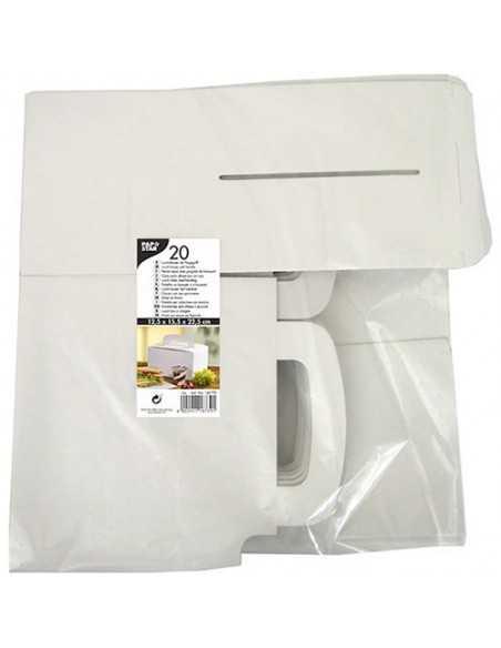 20 Cajas Cartón Blanco Con Asa 15,5 x 22,5 x 12,5cm