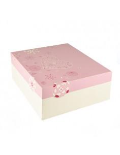 15 Cajas de Cartón Para Tartas con Tapa 30 x 30 x 13 cm Blanco Rosa