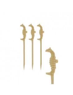 200 Brochetas de Madera Talladas Caballito de Mar 9 cm