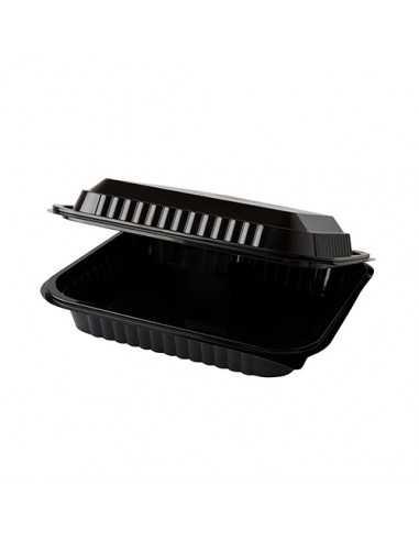 Envases tapa bisagra plástico R-Pet color negro 1600 ml