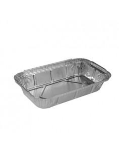 50 Bandejas Sin Tapa Aluminio 650 ml cm Plata