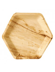 Platos hexagonales compostables hoja de palma natural 23,5 x 3cm Pure