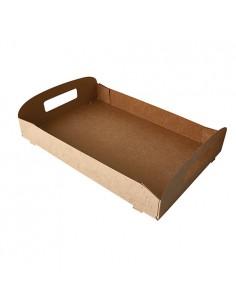Bandejas cartón marrón con asa transporte 35 x 24 x 4,5 cm Pure