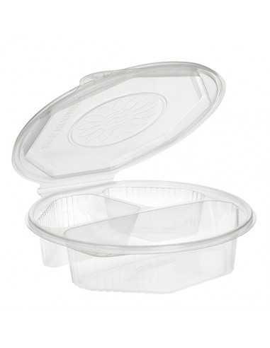 25 Envases Octogonales Con Tapa Bisagra 3 compartimentos 21,5 x 5,9 cm PP Transparente