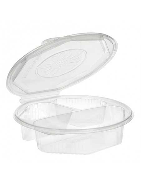 Envases tapa bisagra plástico transparente 3 comp. 800 ml
