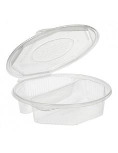 Envases tapa bisagra plástico transparente 2 comp. 900ml