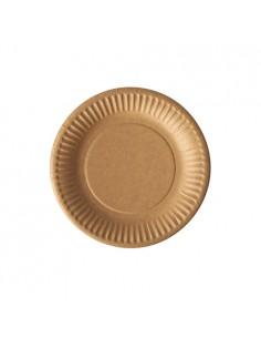 Platos cartón compostables marrón redondos Pure Ø 15cm