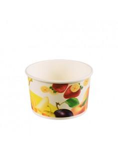 Tarrinas para helado cartón decorado frutas 200ml