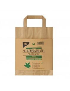 Bolsas basura orgánica papel marrón con asas 28 x 22 x 14 cm