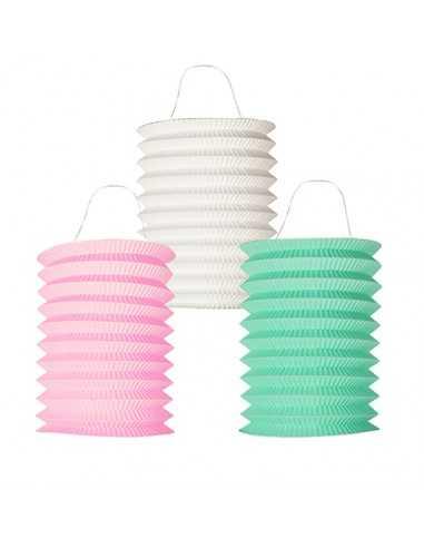 Farolillos de papel plegados colores pastel Ø 15 x 20cm